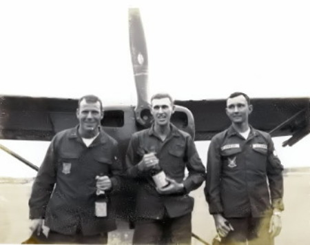 L to R Paul Brennan, Pete Blevins and Warren Taylor, just after our low level formation fly by in March 1970, before leaving for home. Paul and I went through flight school together. Warren hooked up with us before leaving the states and we went over together and came home together