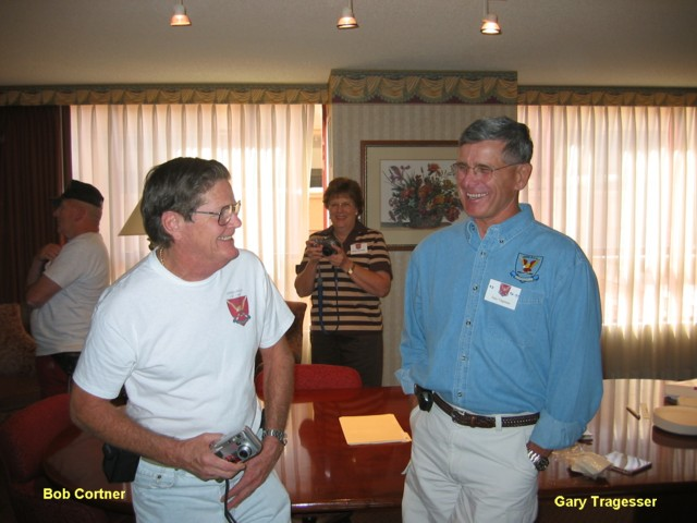 Bob Cortner, left, and Gary Tragesser share a good moment at the Catkiller reunion in 2003