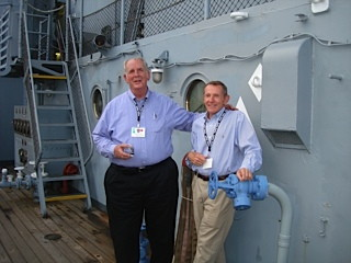 2010: Charles Finch and Roger Bounds, together again after 42 years aboard the USS New Jersey