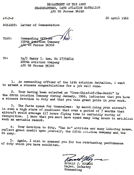 Letter of Commendation to SP4 Harry I. Kee from MAJ Ronald J. Rogers, two months later