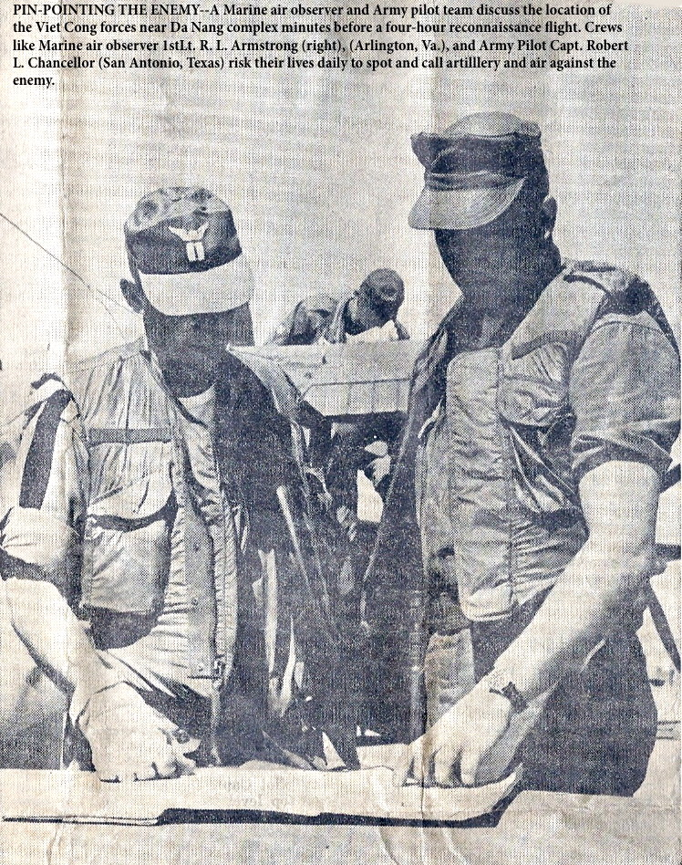 CPT Robert L. Chancellor, 3rd Platoon, Da Nang, speaks with Marine Air Observer 1stLt. R. L. Armstrong,Marine AO before going on patrol
