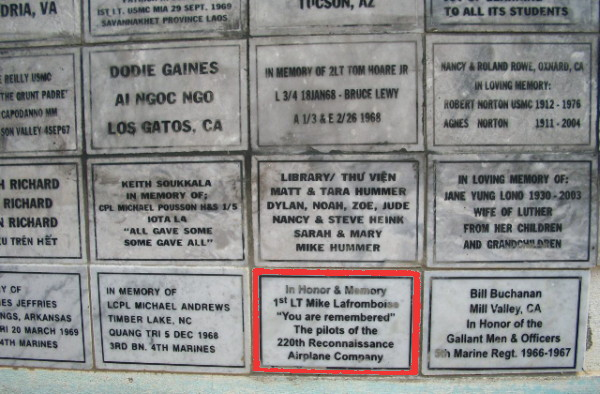 Memorial plaque for 1LT Mike LaFromboise