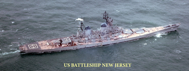 US Battleship New Jersey at sea