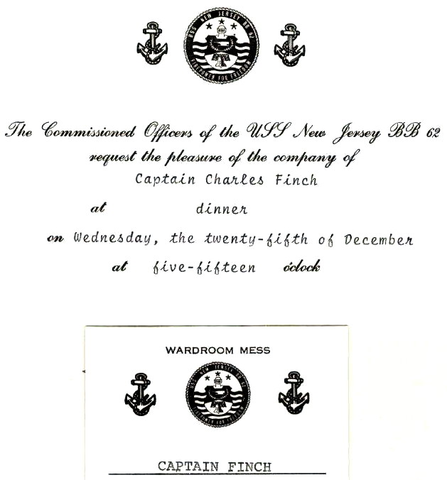 CPT Charles Finch invitation to the Battleship New Jersey, Dec 25, 1968