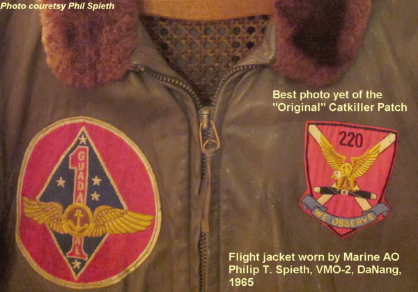 Flight jacket worn by Marine AO Philip T. Spieth, VMO-2, DaNabg, 1965, served with the Catkillers