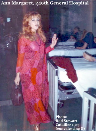 Visiting soldiers convalescing, Ann Margaret, 249th General Hospital, Camp Zama, Japan, 1968